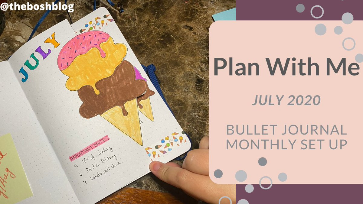 Join me as I set up my July 2020 Bullet Journal Monthly Spreads using a whimsical Ice Cream Theme! This was such a fun set up! YouTube Video Included! #bulletjournal #bujo   https://theboshblog.com/plan-with-me-july-2020-bullet-journal-set-up/…pic.twitter.com/mVsRCqaV1z