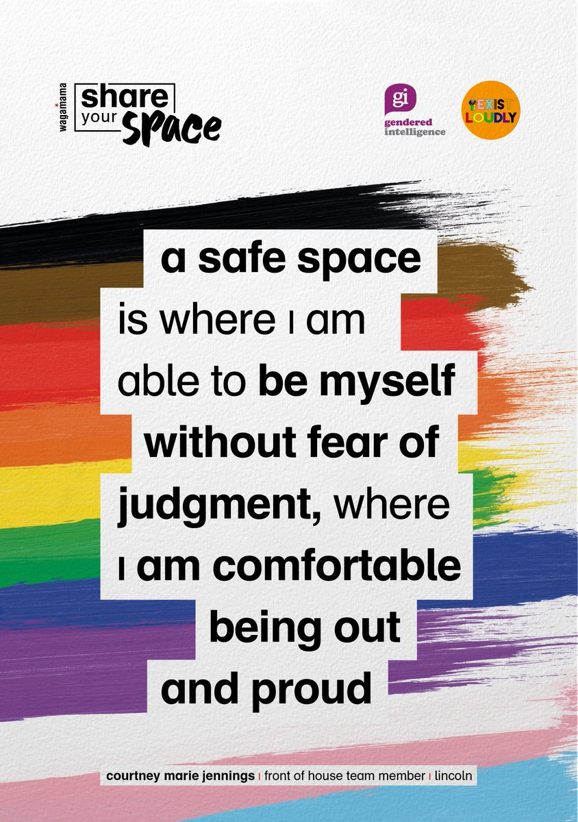 during pride month, we asked our teams what a safe space means to them + their words take up space on posters like these. for every one of these posters re-shared with #shareyourspace, we're donating £1 to two incredibly important charities - @Genderintell + exist loudly https://t.co/L8IkgaQFOq