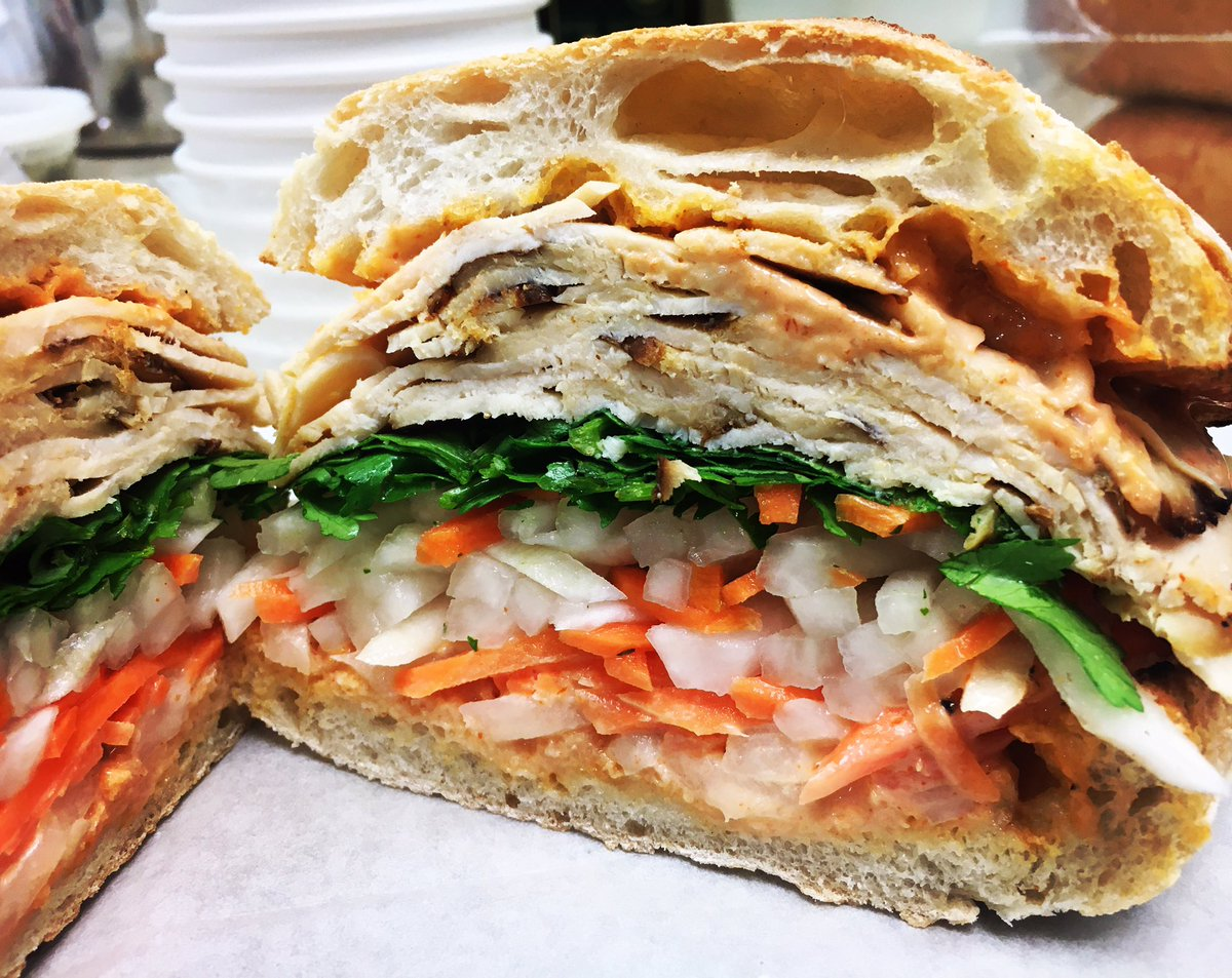 Try our BanhMi Sandwich with Teriyaki Chicken Breadt and housemade Sriracha mayo. Yum! #best #deli #sandwich #daily #instagood #instagram #twitter #like #follow #omnomnom #food #foodie #foodporn #foodhealthyeats #goodeats #hungry #life #vegetarian #photooftheday #picoftheday