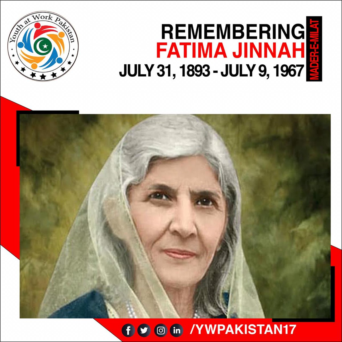 Fatima Jinnah is a role model for all, especially for all Pakistani women. She is a source of inspiration. Today marks her death anniversary. Let us remember her fondly and gain lessons from her.  Regards: Team YWP #fatima #jinnah #volunteering #team #anniversary #women #remember https://t.co/jnfbQlM3SH