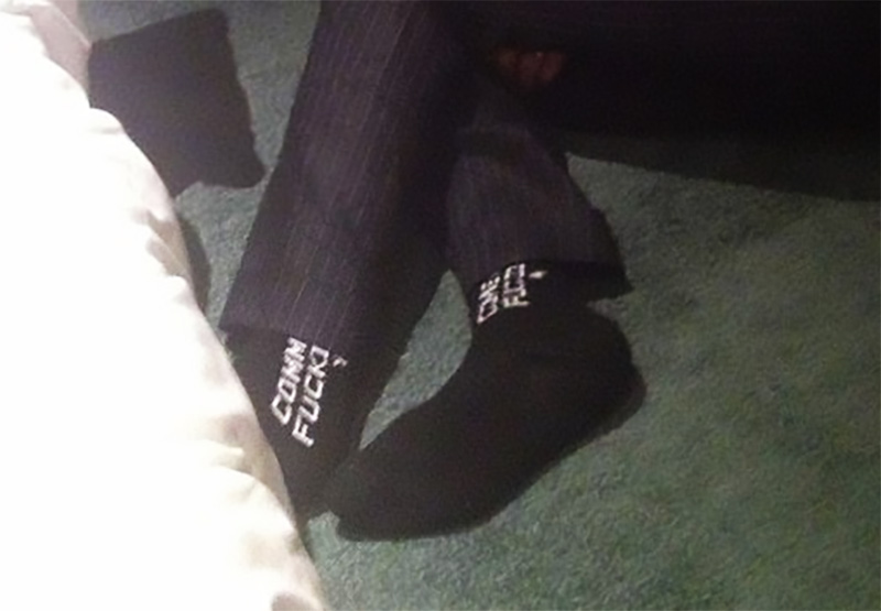@iowahawkblog need to know what the socks say before I can move on with life commodore 64 fucking rocked? community season 4 fucking sucks? commissioner goodell fucking reneges at auctions? i must know