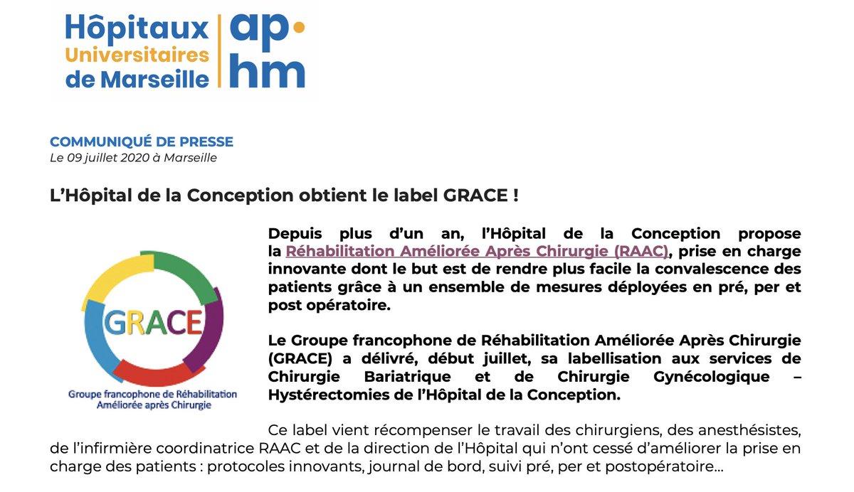 👏 Félicitations à l'Hôpital de la Conception qui obtient le label #GRACE & devient centre de référence en matière de Réhabilitation Améliorée Après Chirurgie ! Une récompense pour le travail des équipes sur la prise en charge des patients et le suivi. ℹ️https://t.co/17Tck0eaS3 https://t.co/i4TPa3jDHO