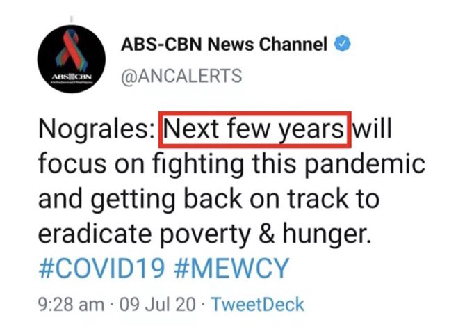 """""""Next few years""""....  Duterte's government is a JOKE. They have ZERO INTENTIONS of finding a solution to the pandemic. In fact, they are using the limitations to public mobility to railroad anti-people policies with far less resistance. #OustDuterte pic.twitter.com/El7CUWGrvs"""