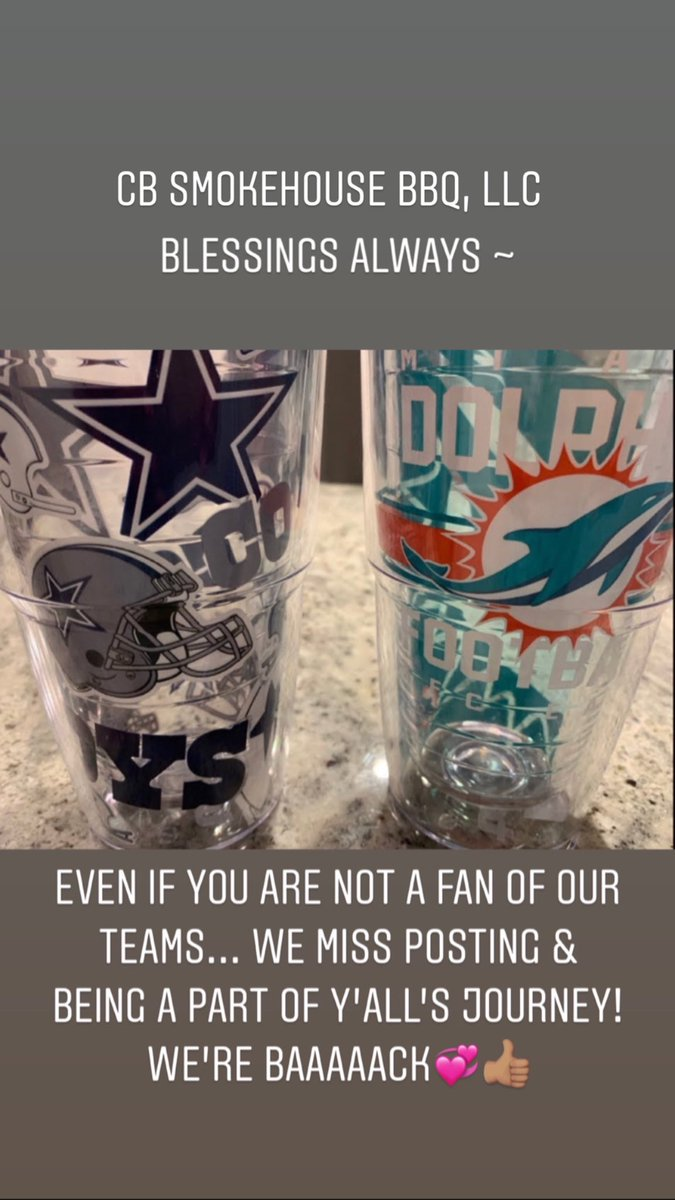 Hello Everyone!  We miss being out with our customers, this is so hard especially for Chef(Hubby) & that grill!  We have faith that we will be out there when the time is right.  God's Continued blessings to ALL #God #husbandandwife #thankful #dallascowboys #miamidolphins #twitter