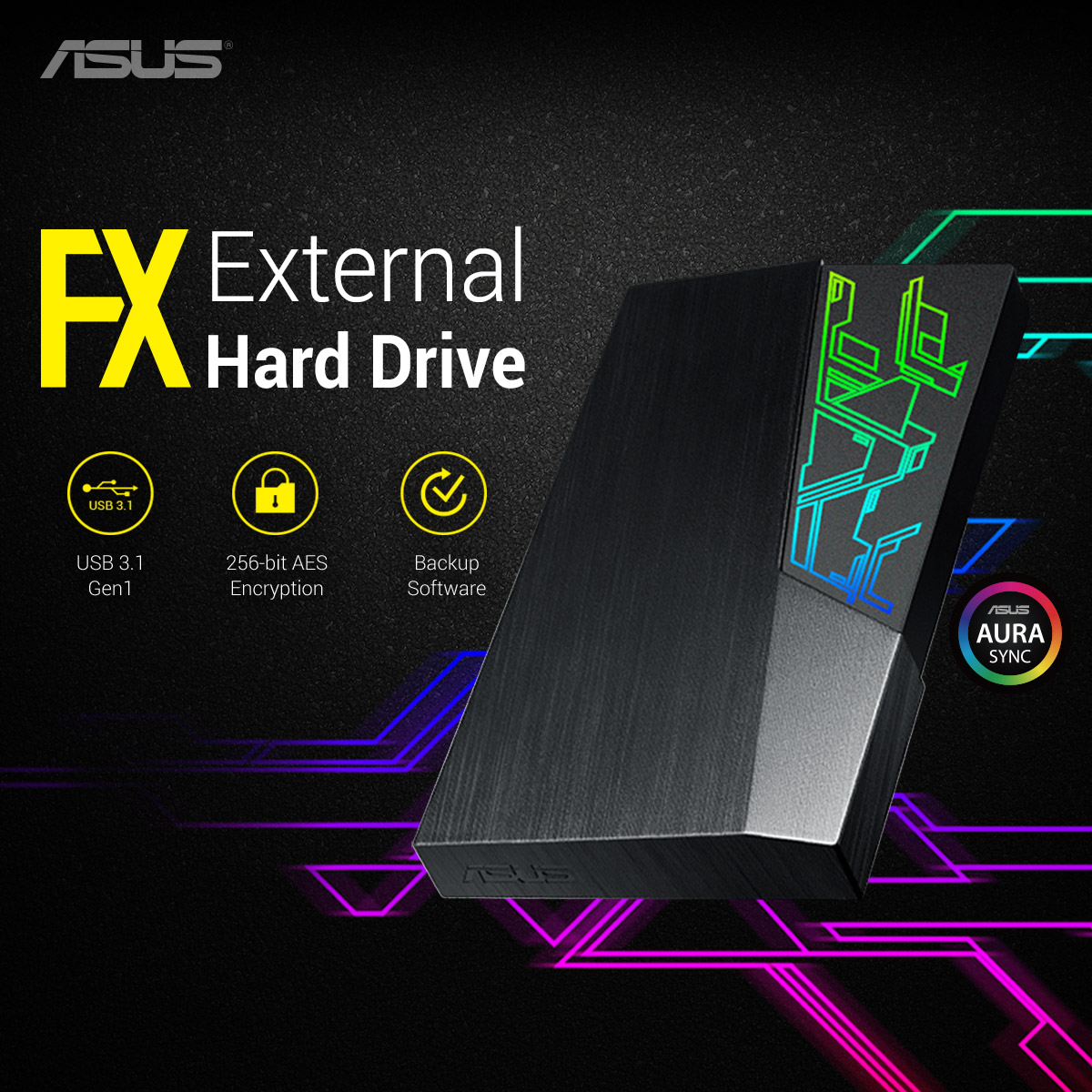 It's the storage for the new generation. The ASUS FX HDD has storage and style to secure your files with fast transfer speeds and cool Aura Sync lighting. #POTD #ProductOfTheDay 🏎️ USB 3.1 Gen1 transfer speed 🔒 256-bit AES encryption 🔄 software backup 🛒 https://t.co/GNWleSZGYU https://t.co/0HDBMdiYQc