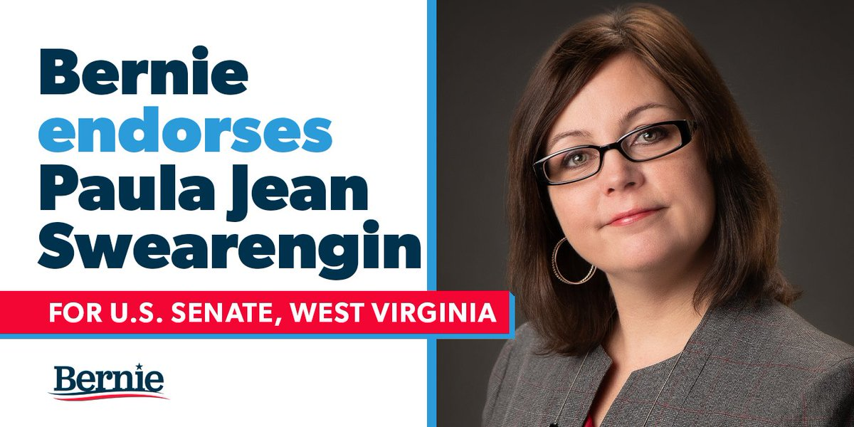 .@paulajean2020 will be a senator who stands up to the political and economic establishment, puts the working class first, and fights to guarantee health care as a human right. I'm proud to endorse her grassroots campaign and I hope the people of West Virginia will support her. https://t.co/jlZM7FrSGO