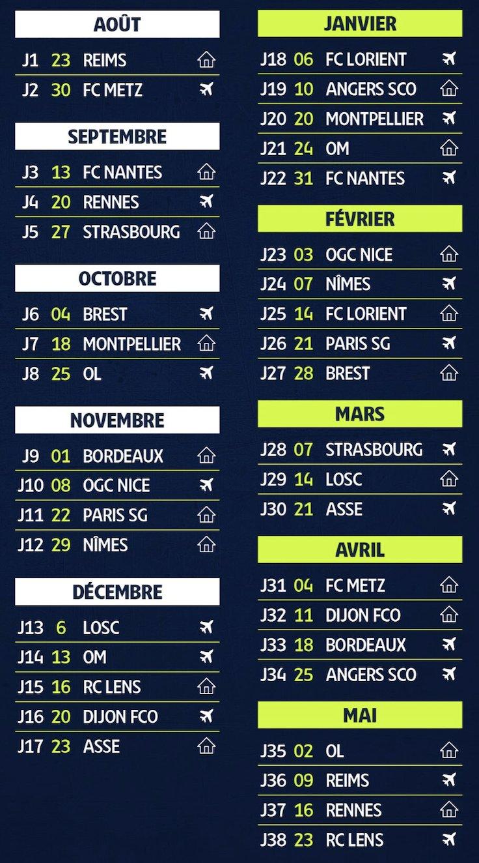 L1   2020 2021 : le calendrier complet de l'AS Monaco
