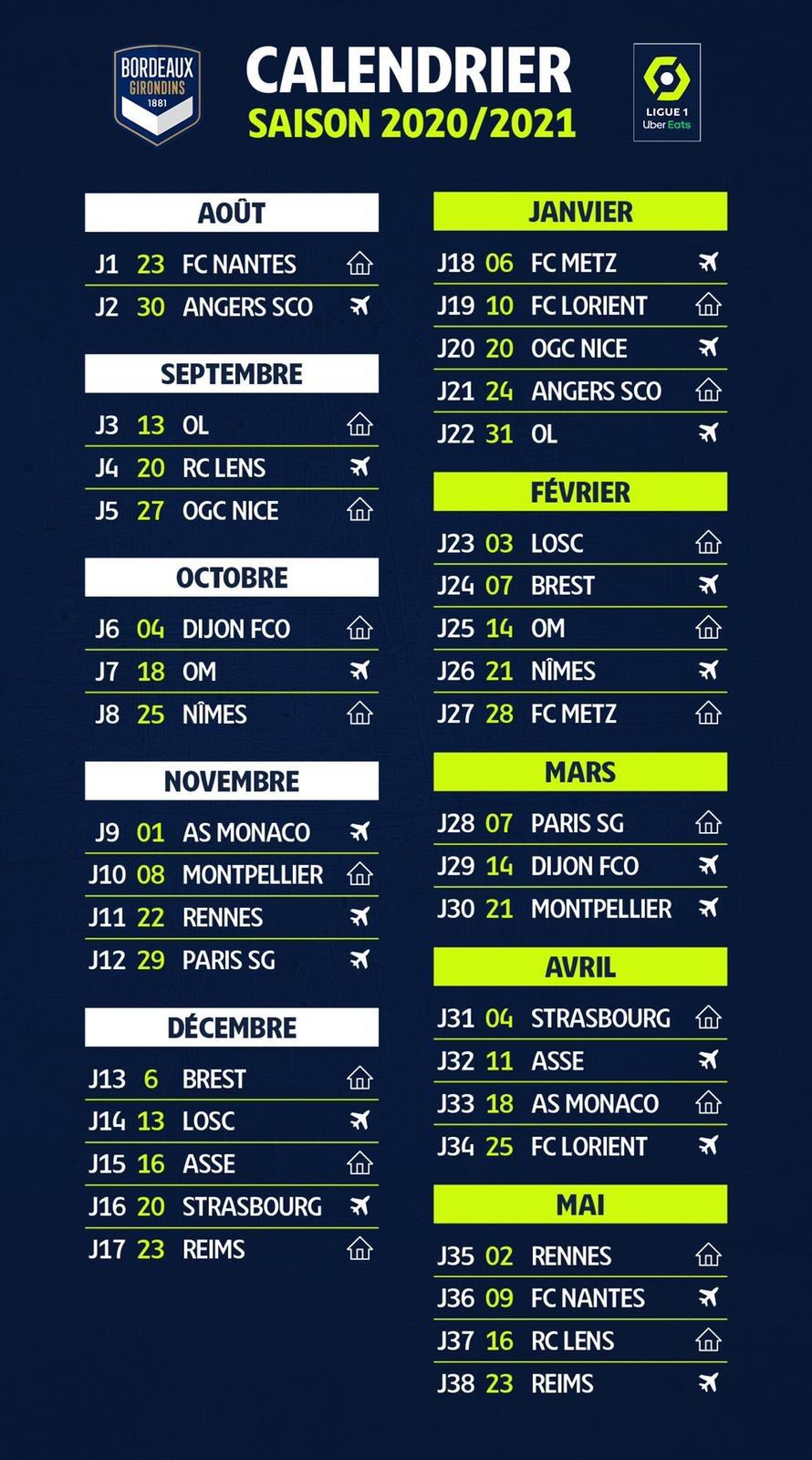 L1   2020 2021 : le calendrier complet des Girondins de Bordeaux