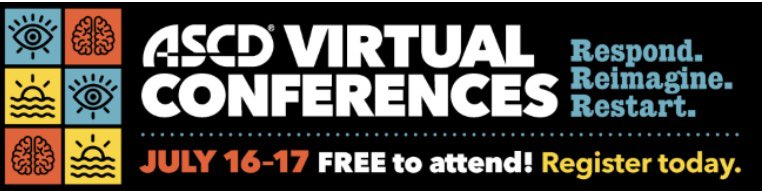 "The @ASCD Summer Virtual Conference is next week and it's FREE! Who's going to be there? Yours truly will be the keynote speaker on July 17. You know I want to see you ""in the building""...VIRTUALLY! Register at https://t.co/5b4OZTHeaM. https://t.co/jUAiiLZbxR"