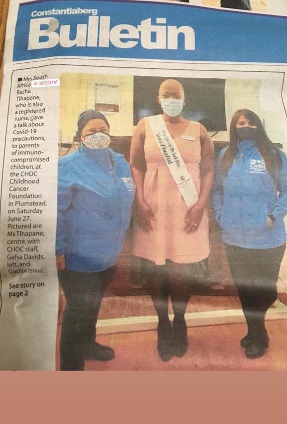 Early Warning Signs (Childhood Cancer and Blood Disorders) and Special Precautions virtual TALK (Instagram and Facebook LIVE) from the Plumstead House @CHOCfoundation   Pediatric Oncology RN @MrsBashaT  Mrs South Africa 2020 Semi-Finalist  #sheisbonafide #mrssouthafrica2020pic.twitter.com/o4eBlBnzJn