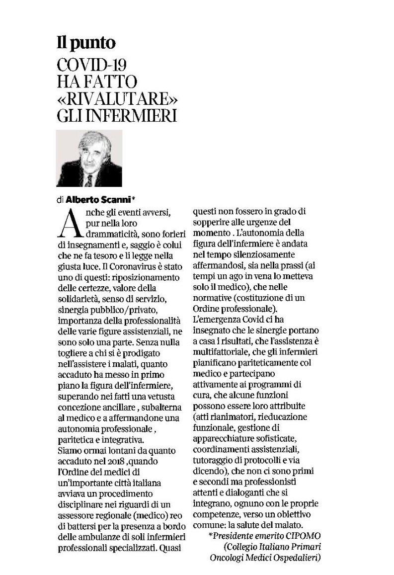 """Oggi su @Corriere_Salute un prezioso contributo del dr @AlbertoScanni sul ruolo, moderno e non più """"sommerso"""" dell' #infermiere in #Italia.Molto attuali le citazioni sulla figura dello #specialista e sulle recenti questioni di forte attualità, dal """"caso Venturi """" ai nuovi #Ordini https://t.co/QvHrznVevQ"""