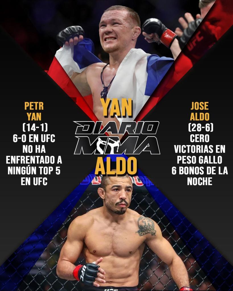 La primer pelea de campeonato en #FightIsland verá a Petr Yan y Jose Aldo disputar el cinturón vacante de peso gallo. ¿Quién será el campeón? #UFC251 #pesogallo #bantamweight #PetrYan #Yan #JoseAldo #Aldo #UFC #MMA #DiarioMMA https://t.co/Rl01a9Bgt9