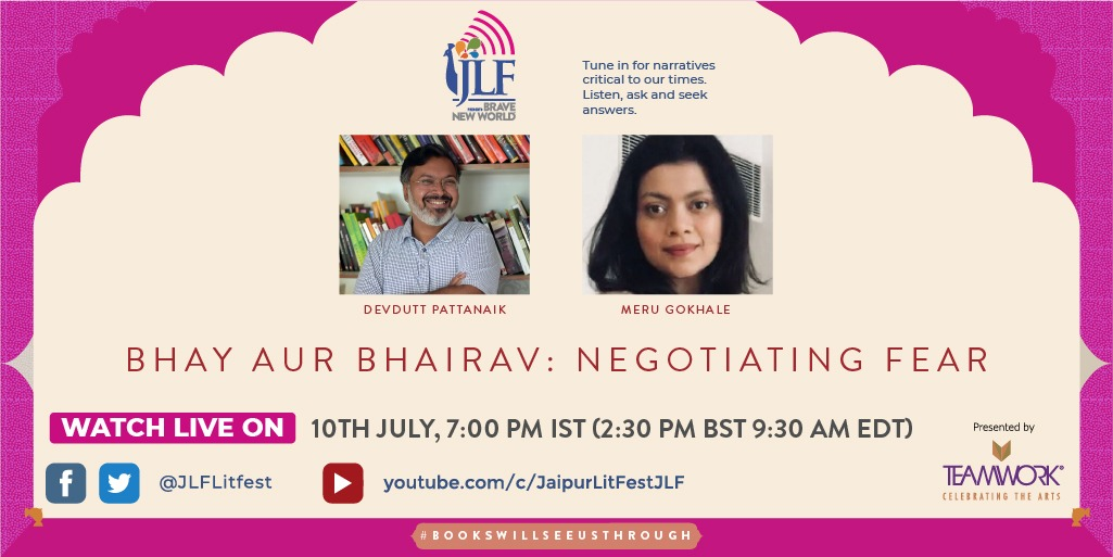 On #JLFBraveNewWorld, mythologist and storyteller @devduttmyth and  publisher @MeruGokhale speak on fear, one of the most debilitating of emotions and how it can be overcome to deal with the realities of life as they are dealt out to us. @PenguinIndia https://t.co/hpPeg3kuc1
