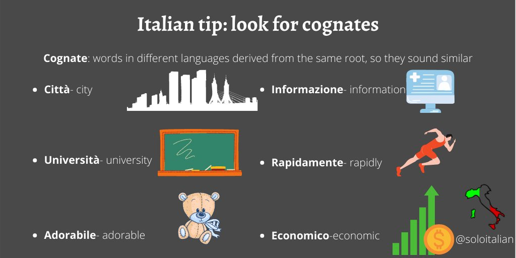 Want to easily learn #Italian vocabulary? Learn cognates. Here are some to start you off pic.twitter.com/heR3v0IVDX
