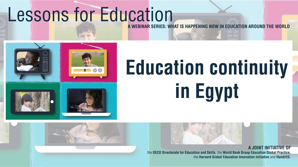 Starting soon: Join @SchleicherOECD and @JaimeSaavedra22 as they discuss Egypt's education response to the #coronavirus #COVID19 crisis with the country's education minister Details and registration for this #LessonsForEducation webinar 👉 oecdedutoday.com/oecd-education…