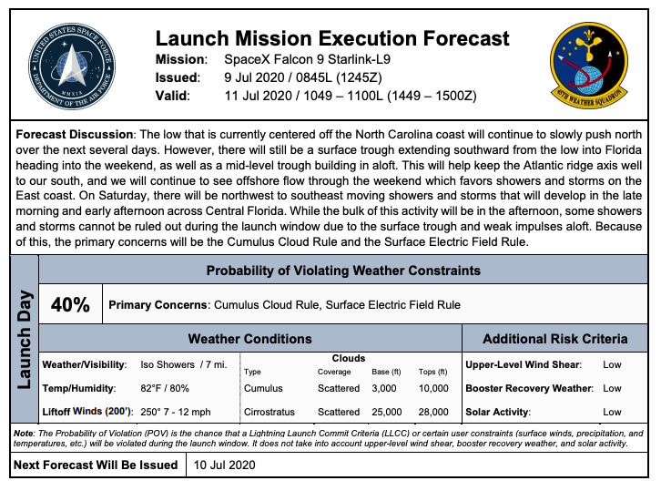 45th Weather Squadron has released a Launch Mission Executing Forecast for this Saturday to support SpaceX Falcon 9 next attempt to launch Starlink.   No back update available, but targetting 10:49 am to 11:00 am EDT launch time on July 11th. Waiting for SpaceX confirmation. https://t.co/WCIXS5qJaO