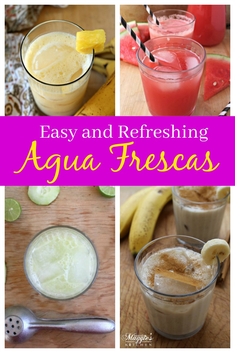 These easy and refreshing Agua Fresca recipes will quench your thirst this summer. From pineapple to watermelon, theres something for everyone. See the entire collection >> inmamamaggieskitchen.com/agua-fresca-re… #mexicanfood