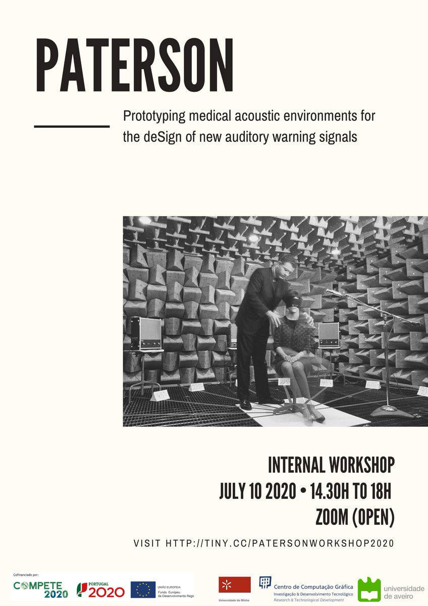 🔔 Workshop! #PATErSoN – Prototyping medical AcousTic Environments for the deSign of New auditory warning signals. Register: https://t.co/hD7JPf3W8G 🗓Tomorrow: 10th July 2020. #medicalAcousTic #warningsignals #designofaudio #psychoacoustic https://t.co/WtRL8ri7nW