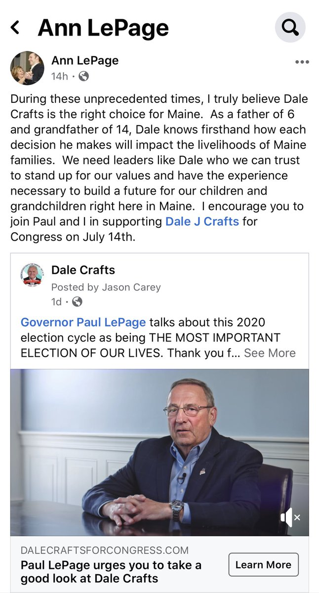 Thank you Former First Lady Ann LePage for your endorsement. You have sacrificed so much for the State of Maine, and I am honored to have your support. https://t.co/enDIJfT8vV