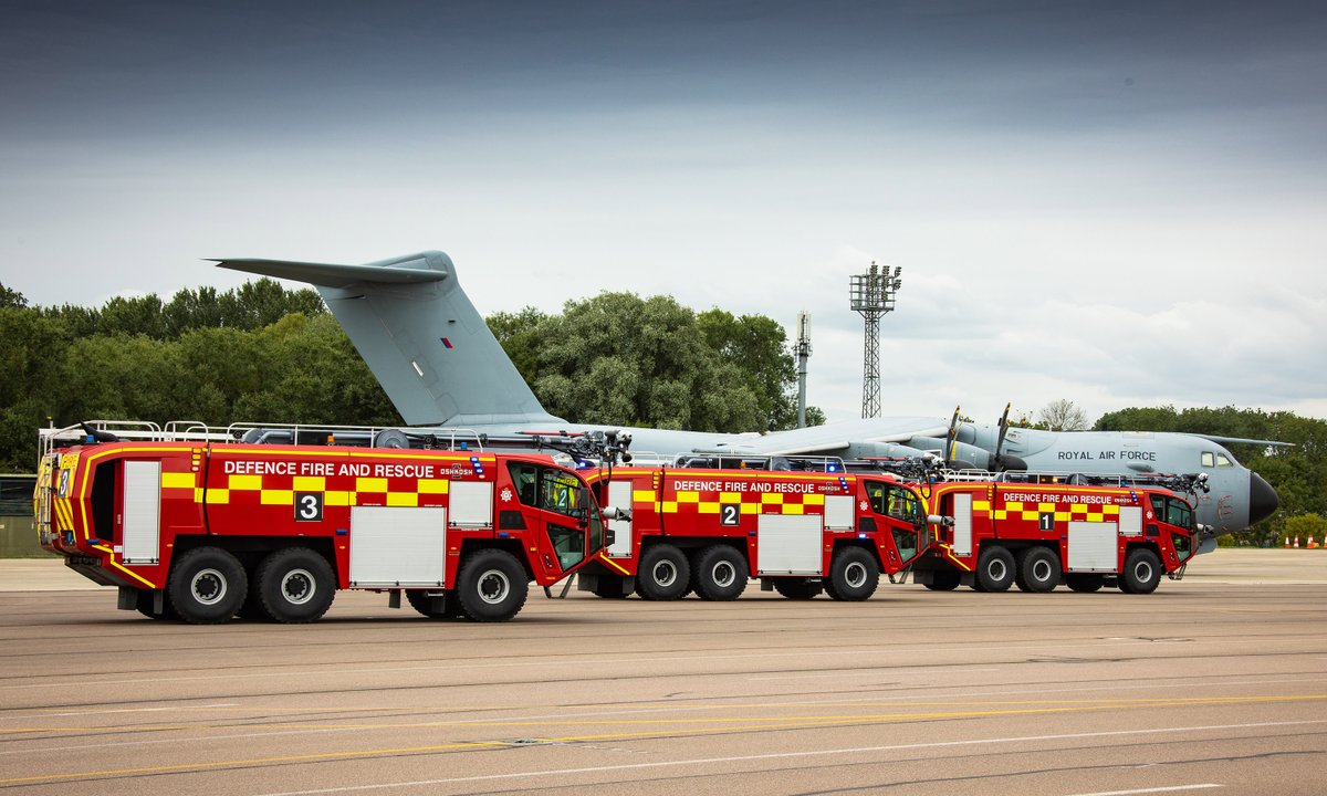 Our firefighters have recently taken delivery of five new fire engines, replacing the existing vehicles. The new fleet will significantly increase vehicle reliability, availability and will also improve capability.  Read more: https://t.co/jjufvaJ3zg  #NextGenRAF https://t.co/CFlTiEMqzm