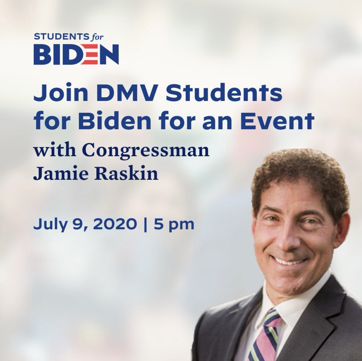 Join us and other DMV colleges in hearing from Congressman Jamie Raskin! He knows how important it is that Biden wins in November! pic.twitter.com/AUWOjfrRXJ