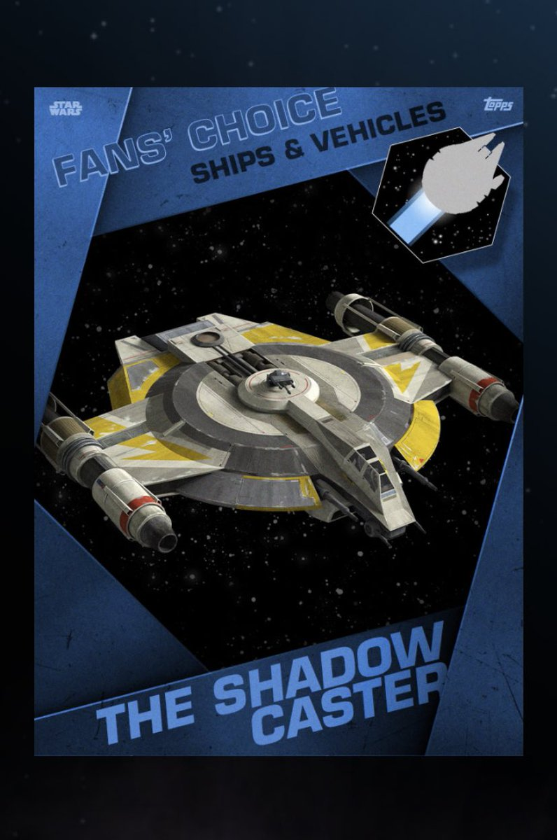 Ketsu Onyo's Shadow Caster and, no choice here because @MrsDaftPrawn is a HUGE Admiral Raddus and @Stephen_Stanton fan, the Hammerhead Corvette #CardSquadronpic.twitter.com/CVbxKRxhAq