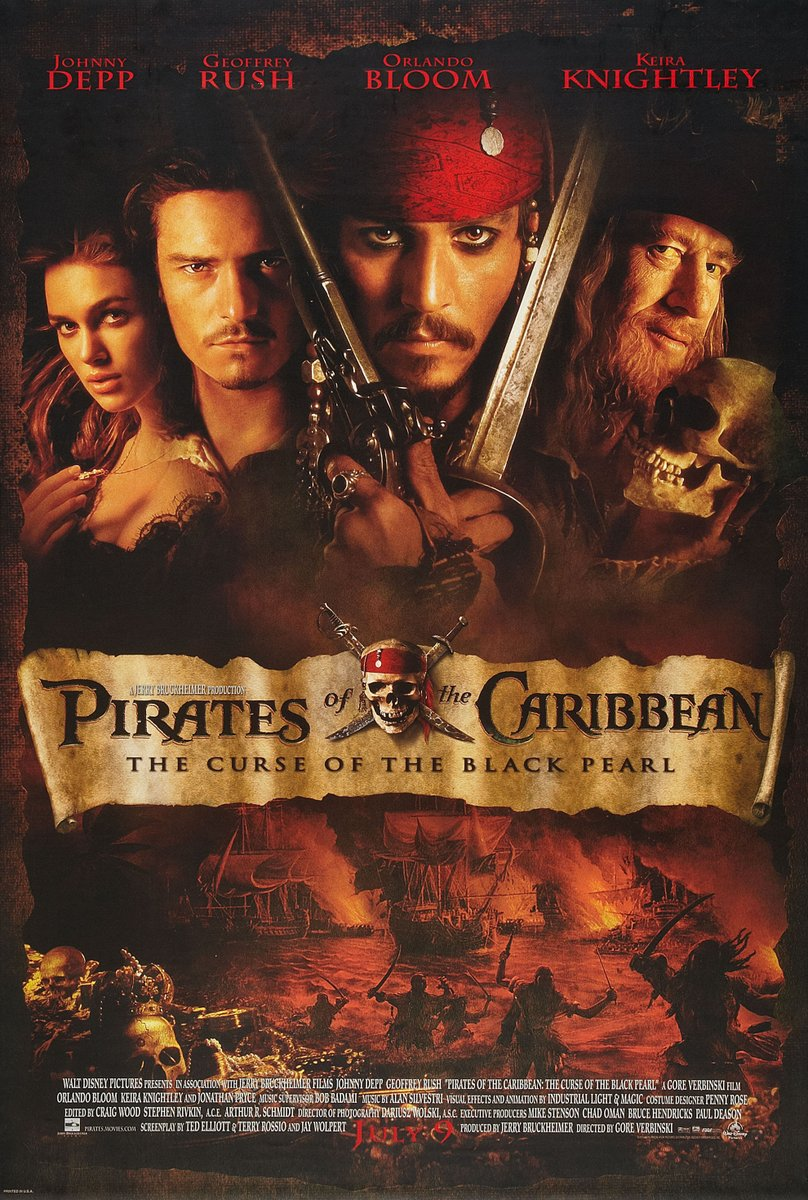 On this day in 2003, Disney released the first film in the Pirates of the Caribbean franchise, 'Pirates of the Caribbean: The Curse Of The Black Pearl'.  Did you see this one on release?  #piratesofthecaribbean #jacksparrow #disney https://t.co/xy20PN3Wkw