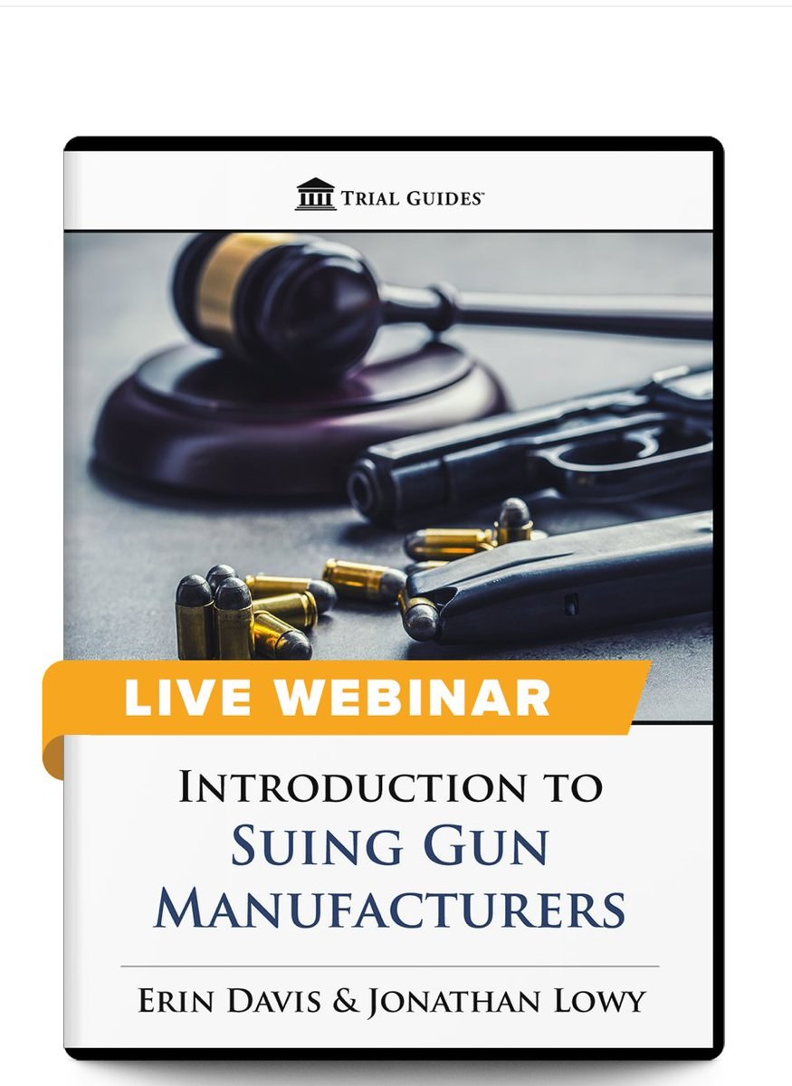 New Webinar!  Introduction to Suing Gun Manufacturers - with Erin Davis and Jonathan Lowy  July 24, 2020 ♦ 12:30 PM ET  9:30 AM PT  90 minutes followed by up to 30 minutes of Q&A  Register and Learn more here: https://t.co/bbX9FRRdKL https://t.co/m2NZI6r12f