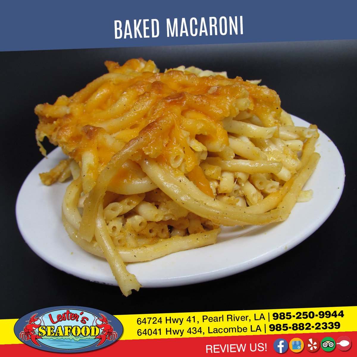BAKED MAC - A huge helping of our signature Baked Mac. 3.99  #LestersSeafood #Chicken #FoodPic #NomNompic.twitter.com/KStBZFEMPw