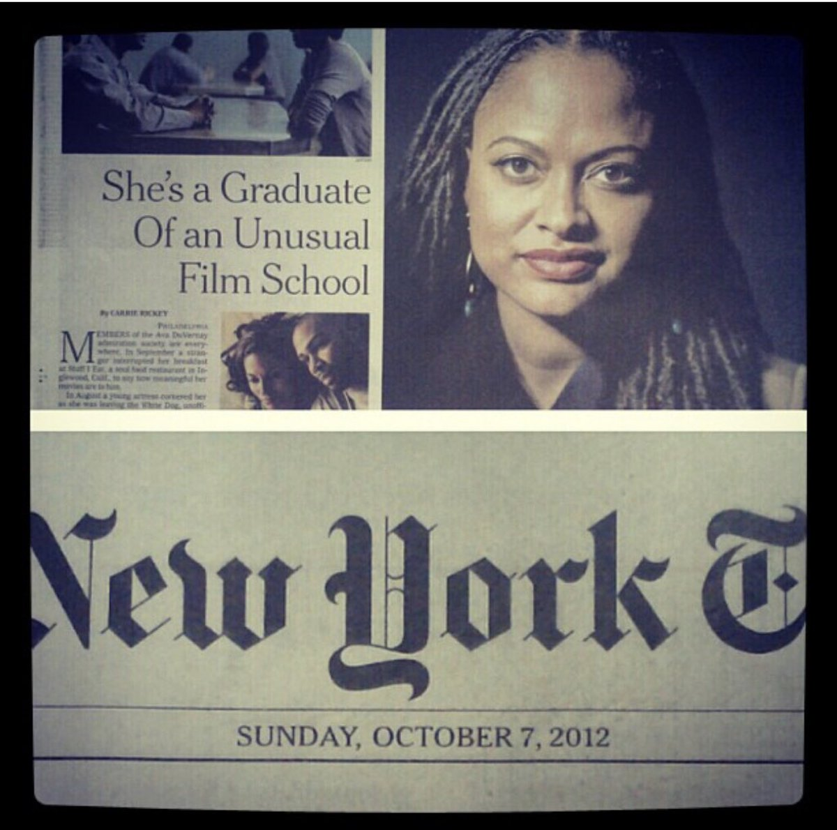 "#ThrowbackThursday to the first article in the #NYT of Ava DuVernay in 2012.  ""Film school was a privilege I could not afford""  Yesterday article:   What a journey🙌🏽❤️"