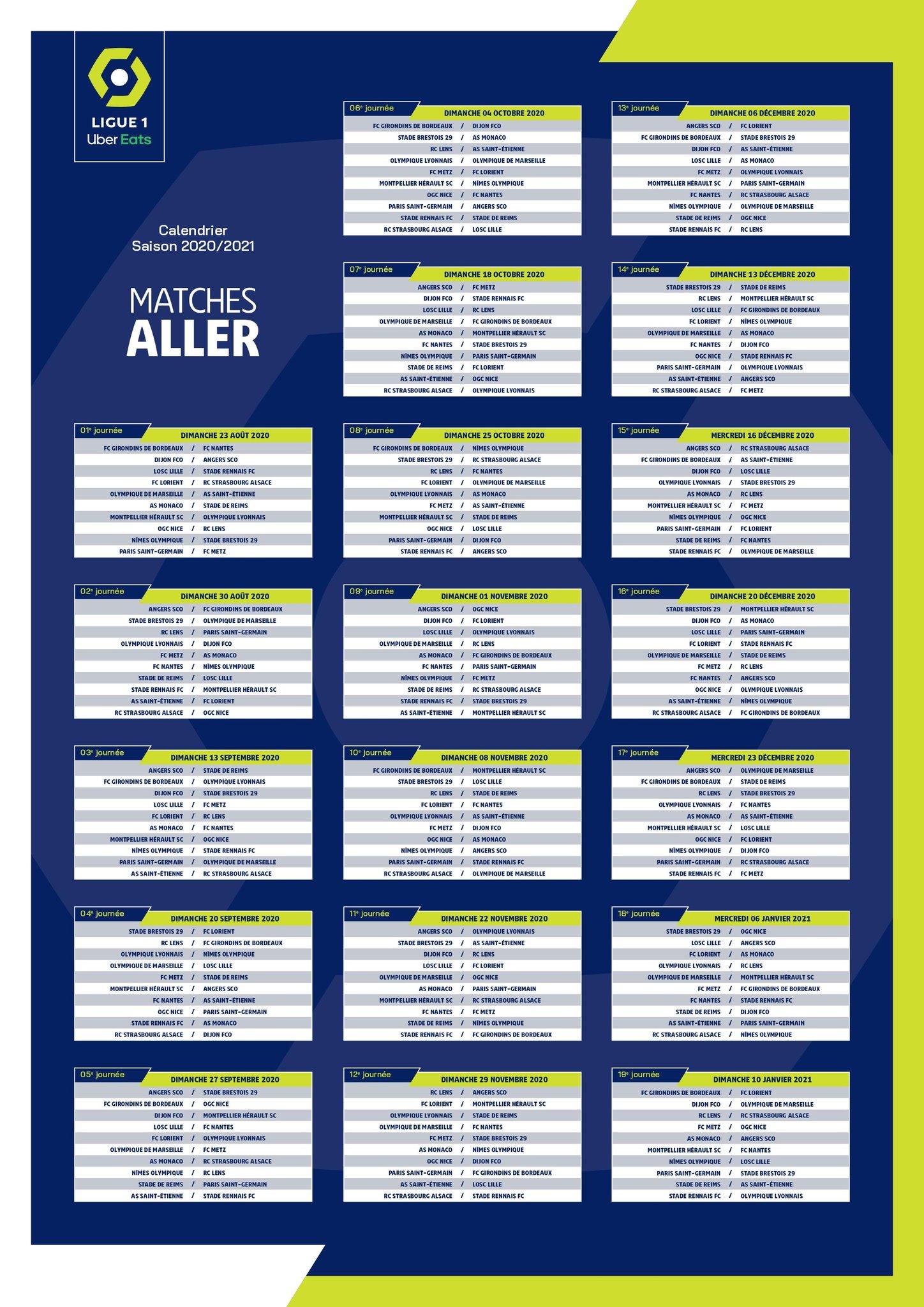 2020/2021 : le calendrier complet de la Ligue 1 — Alsa'Sports