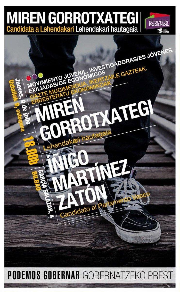 🔴🟣🟢Nuestra candidata @MiGorrotxategi y nuestro candidato @InigoMZaton hablarán esta tarde en #Bilbao de las y los exiliados económicos, esa juventud que tiene que buscar fuera las posibilidades de desarrollar investigación que no se les da aquí. 👇 #PodemosGobernar https://t.co/HrEx5iUL6u