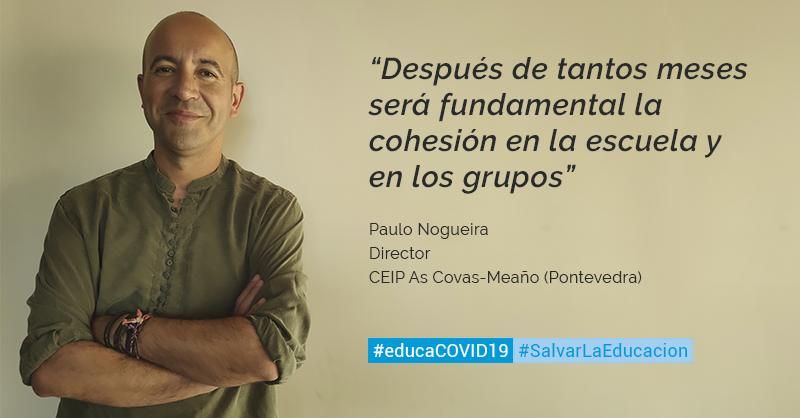 Paulo Nogueira, director del CEIP As Covas-Meaño  considera que va a ser necesario invertir tiempo en el ámbito personal, emocional y de cohesión para poder avanzar en el ámbito académico #SalvarLaEducación #EducaCOVID19 https://t.co/KOVciuwPTQ https://t.co/30ZzutFMDU