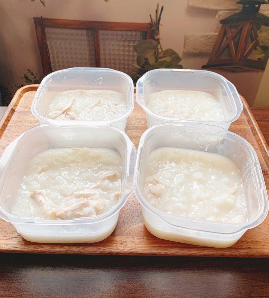 ダイエット食に基本のかのまん沼はおすすめ(本家沼は最高なんだが見た目がちょっと…という人向けのただの中華風鶏がゆ+野菜後入れ)米1合に対し水1リットル、鶏胸肉1枚、創味シャンタンを15gくらい入れておかゆモードで炊いて、時間があれば炊き上がりから3時間放置。4等分(約300gちょい)する!