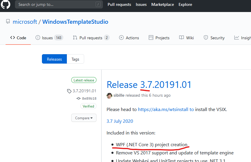 WindowsTemplateStudio v3.7がリリースされた3.7で ついにWPF(.NET Core 3.1版)をサポート!今後はWPF用の部品(Xaml Islandsとか)が増えていって いつかWinUI3.0に対応するらしい。一段落というか ここから再スタートって感じに見える。#WindowsTemplateStudio