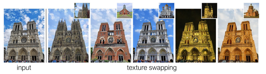 (2つの画像のtextureを入れ替えて画像生成するGANを提案アーキテクチャはAE形式でtextureとstructureそれぞれを表現する潜在変数にencodeした後再構成する。画像から潜在変数を直接推定するのでstyleGANのように推論時のiterationは必要なくリアルタイム変換が可能である。
