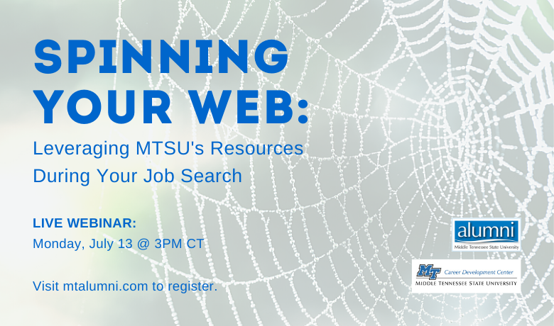 Join us along with the MTSU Career Development Ctr as we show you how to leverage MTSU's tools and resources in your job search. Free webinar! Please RT for friends who may need assistance. https://t.co/fNO4MDXNsX https://t.co/vAkQHRSfHU