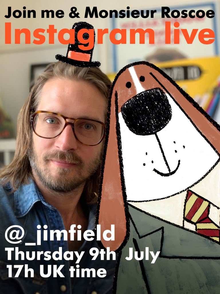 Hello! Bonjour! Come and join me and Monsieur Roscoe in TEN MINUTES on Instagram Live @_JimField
