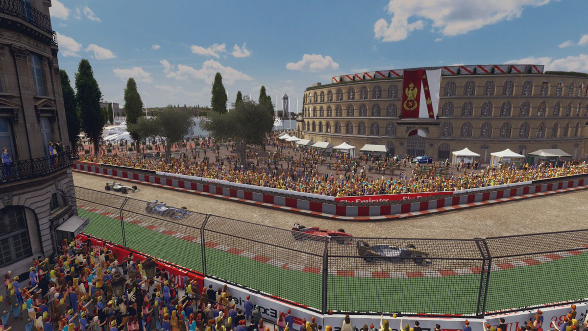 Gran Premio di Elba (3/4)  Maybe the most picturesque part of the circuit is the corner near the Teatro Valeri, creating a stunning backdrop as the cars turn.  The surrounding Piazza is open to the public to watch race,with merchandise and food stalls nearby.  #CitiesSkylines<br>http://pic.twitter.com/SqmCiGuErM