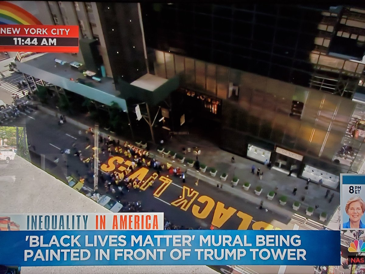 Black Lives Matter is officially being painted right in front of trump Tower. And I am just LOVING today.