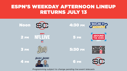 The 5p ET Happy Hour of @AroundtheHorn & @PTI is back Monday (July 13) when ESPNs afternoon weekday lineup returns. bit.ly/2W0XoWD
