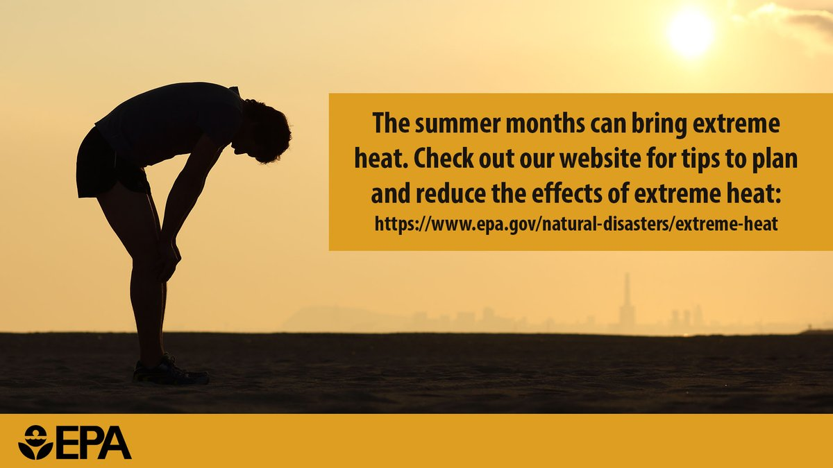 The summer months can bring extreme heat. Check out our website for tips to plan and reduce the effects of extreme heat: https://t.co/o7eZsnFMUv https://t.co/Te3PLwJj4z