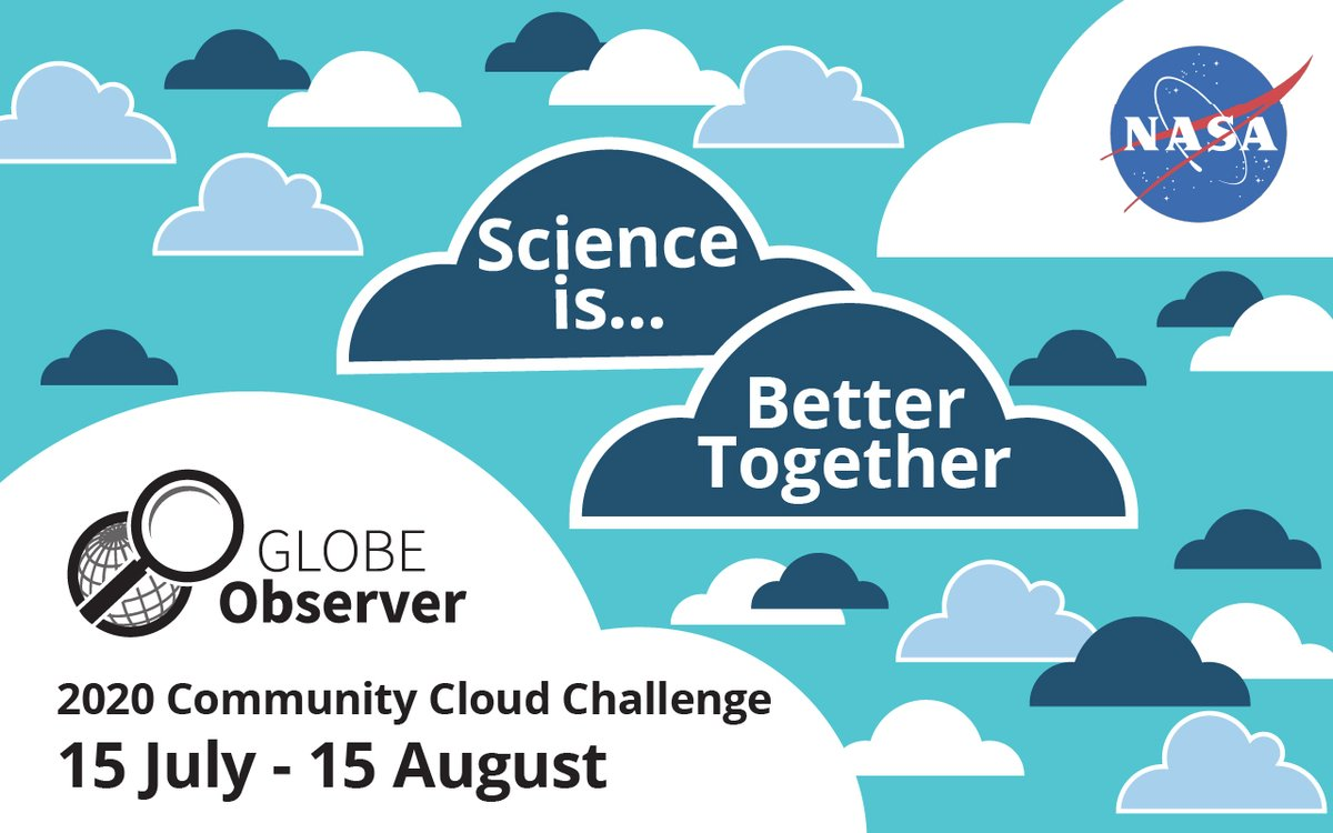 Were looking at clouds from both sides now...with the GLOBE 2020 Community Cloud Challenge! There are a variety of ways to be involved this time around, even if you cant safely get outside during the challenge period. go.nasa.gov/2W1kso1
