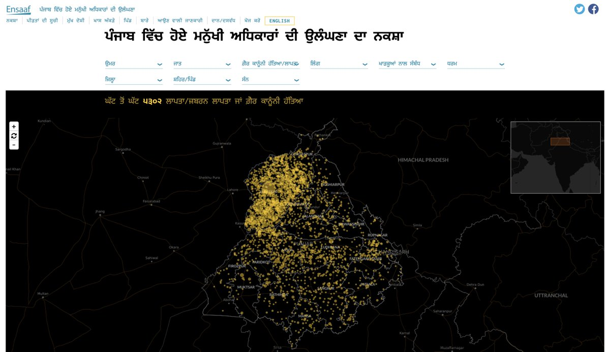 Ensaaf is pleased to announce that our Mapping Crimes Against Humanity site is now available in Punjabi. All of the key content and features can now be viewed in either Punjabi or English. - https://t.co/81rd1p1m84 https://t.co/BRO8yg71Mb