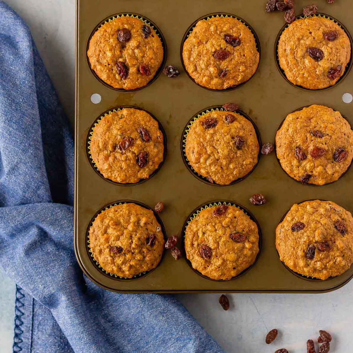 These healthy refrigerator raisin bran muffins, filled with naturally sun-dried California Raisins, are amazing! The batter can be kept in the fridge for a month, so you can enjoy fresh baked muffins in the morning with no effort at all! #sponsored bake-eat-repeat.com/refrigerator-r…