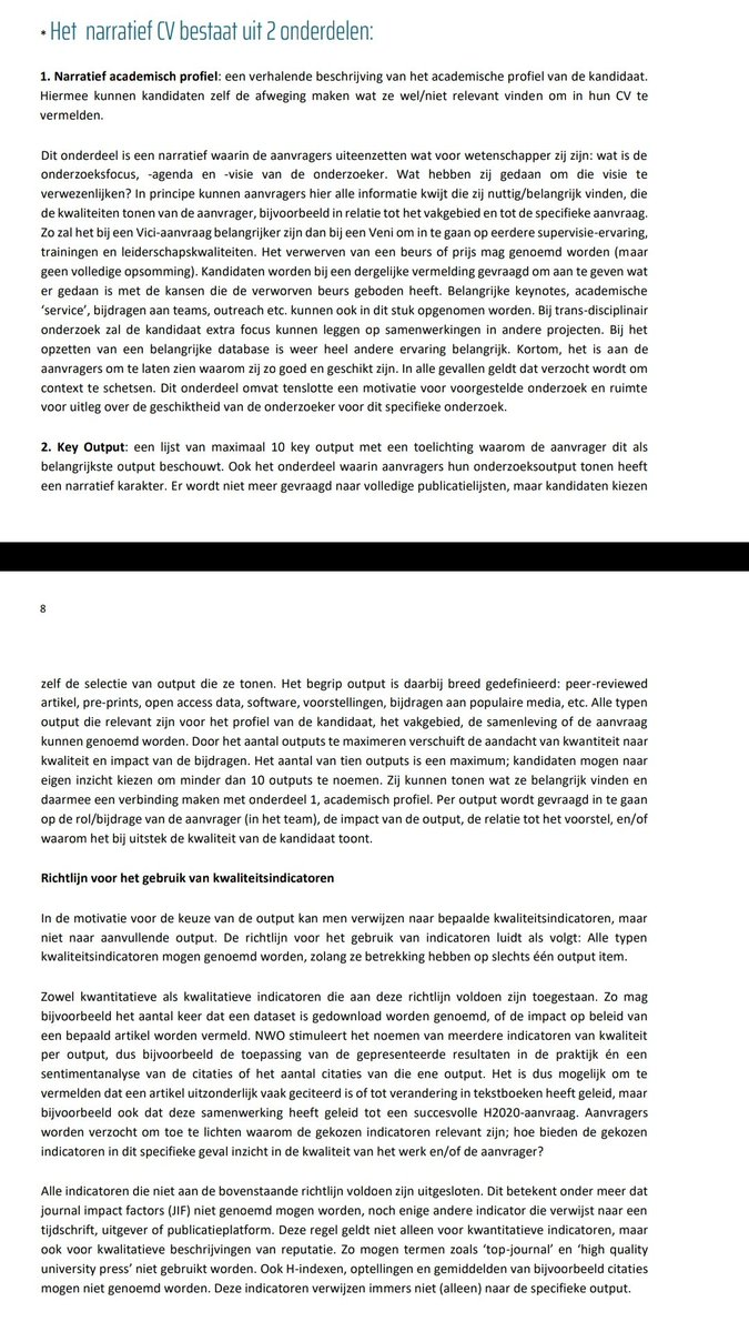 """RT @kgossink De nieuwste @NWONieuws Vidi-call bevat nadere toelichting over het narratief CV. Hierin wordt o.a. uitgelegd dat zeker niet alle kwantitatieve indicatoren worden uitgesloten. Metrics die direct gerelateerd zijn aan één v/d """"key outputs"""" zijn toegestaan (mits voorzien van context)"""