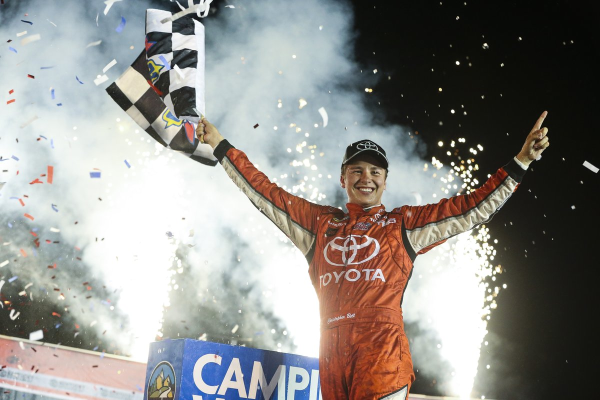 #ThrowbackThursday: Christopher Bell captured the checkered flag at Kentucky Speedway for his third win of the season. He would go on to win five races that season.