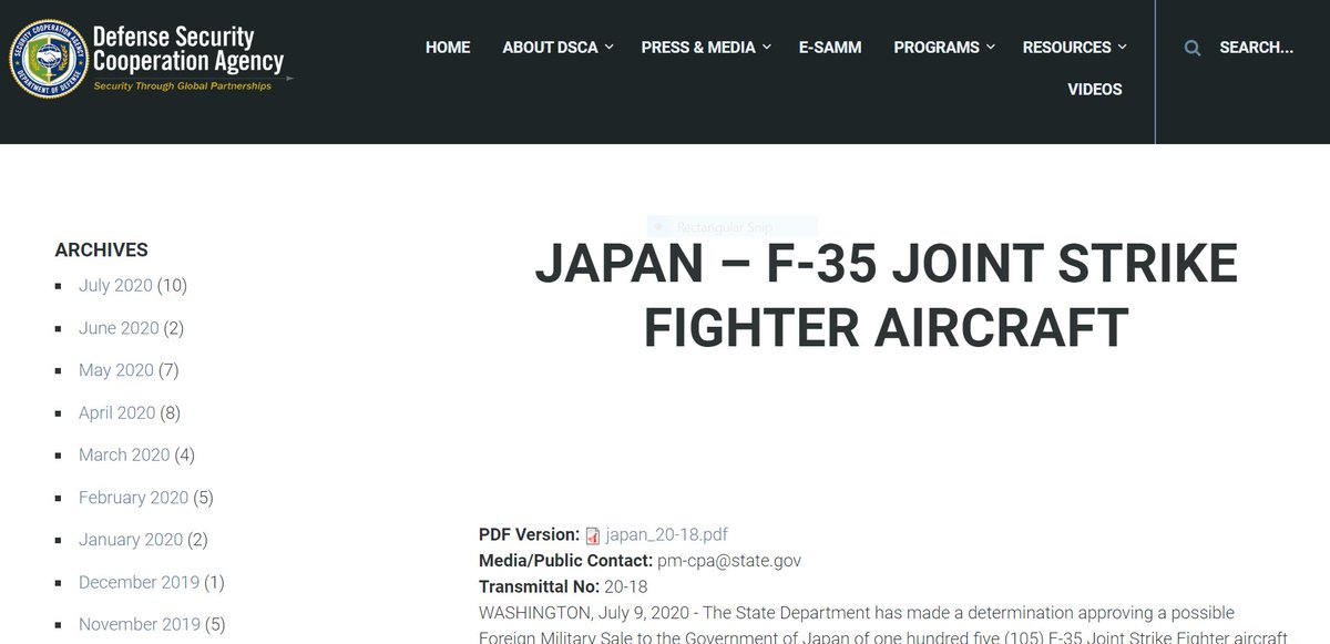 .@StateDept authorizes a Foreign Military Sales #FMS case for #Japan for up to 105 F-35A and F-35B Aircraft & related equipment valued at up to $23.11 BILLION! @USAsiaPacific @eAsiaMediaHub @usembassytokyo #FMSUpdate- https://t.co/gI3dHshohR https://t.co/qJICpfoRVY