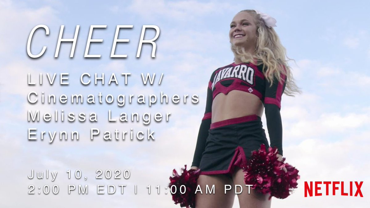"Join @filmmaker_u LIVE tomorrow with #cinematographers Melissa Langer and Erynn Patrick of #Netflix's ""Cheer"" to answer your questions and discuss their craft! https://buff.ly/3gMbNhl  #Cheer #filmmaking #filmmaker #cinematographypic.twitter.com/oAI3UDDTrN"