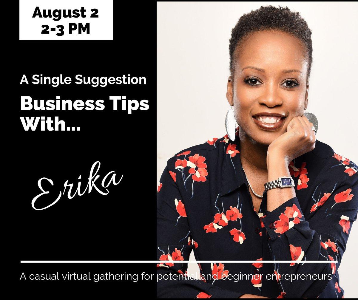 Please join me on August 2 for an informal gathering.  I'll be sharing info on running my business. Visit https://t.co/FIQzHrYjZ1 to register, if you would like to join in.  #smallbusiness #entrepreneur #womeninbusiness #erikaburnett #asinglesuggestion #businessowner https://t.co/6Iq9skREQT